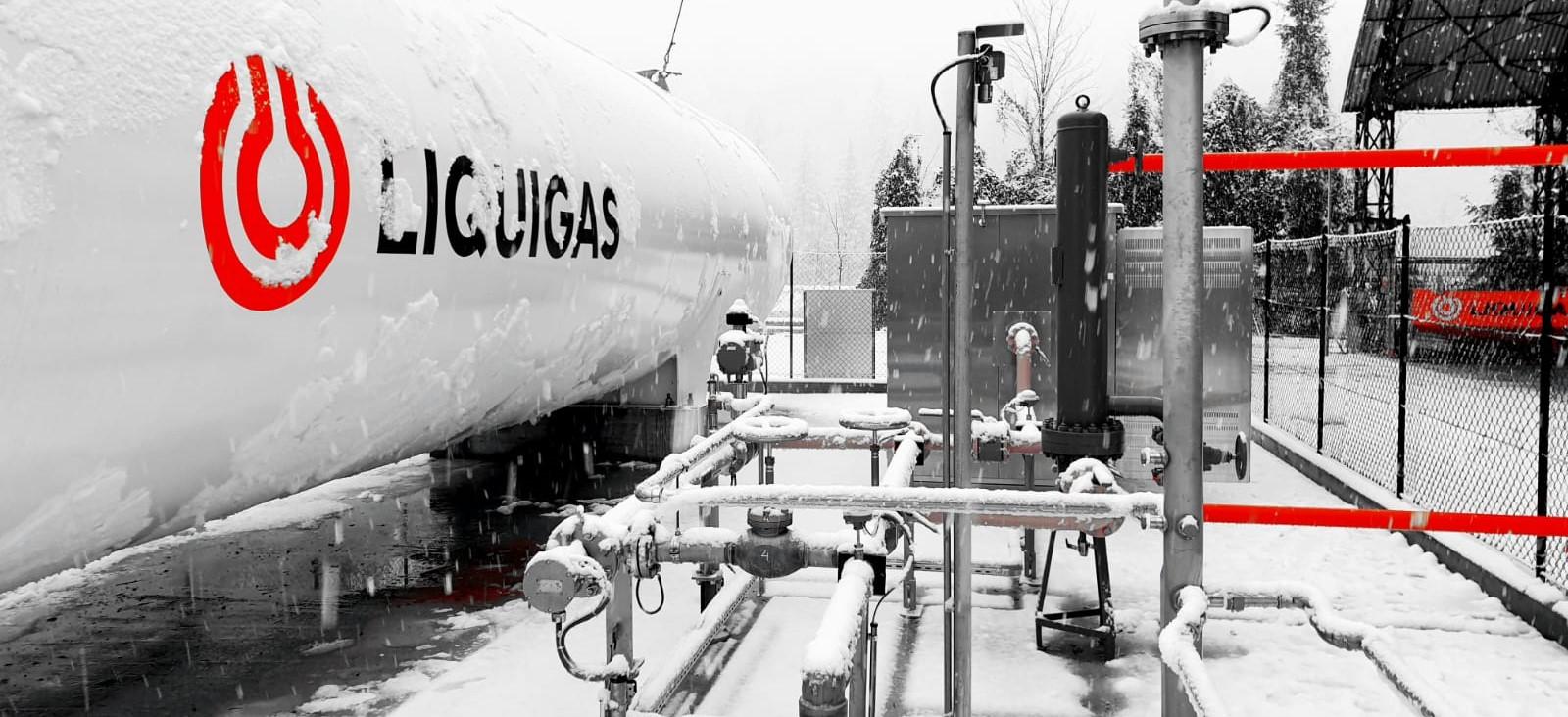 LNG tank in winter
